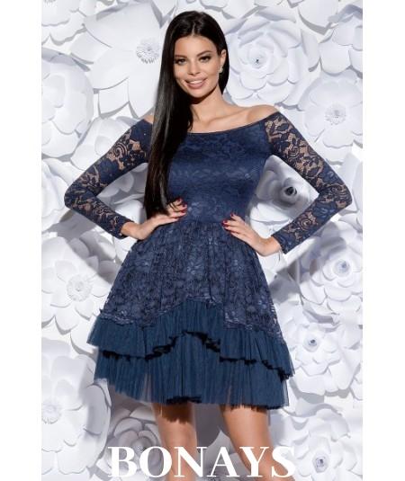 Rozkloszowana sukienka z koronką - hiszpanka - granatowa