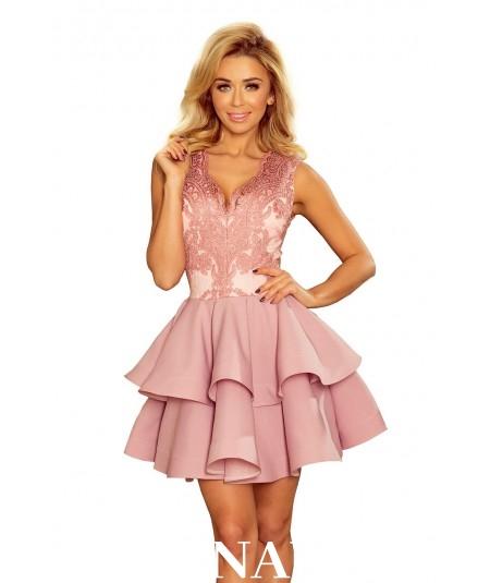 Ekskluzywna sukienka CHARLOTTE - pudrowy róż