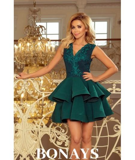 Ekskluzywna sukienka CHARLOTTE - butelkowa zieleń