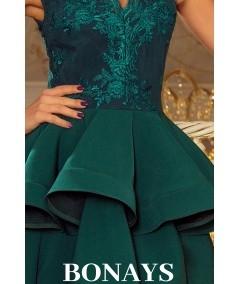 rozkloszowana sukienka z falbanka - butelkowa zieleń Numoco