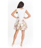 Sukienka koktajlowa w kwiatowy wzór - ecru