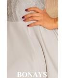 szara rozkloszowana sukienka z koronka wesele, numoco