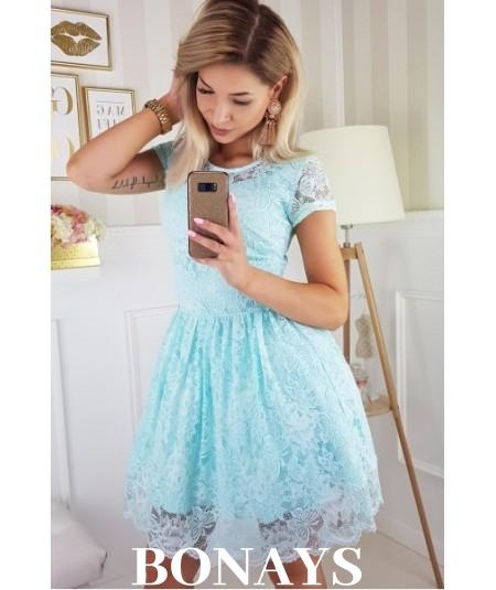 Sukienka pokryta koronką MILENA - miętowa