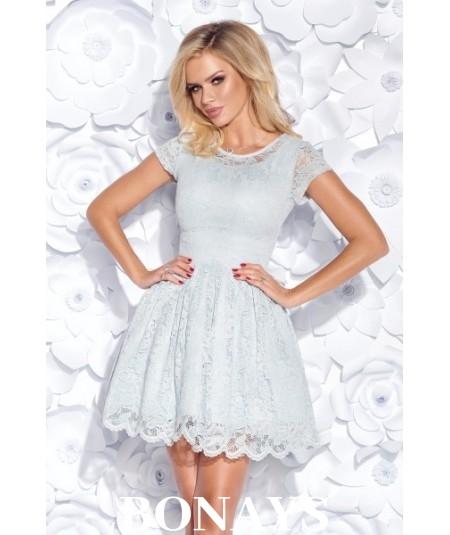 Sukienka pokryta koronką MILENA - szara