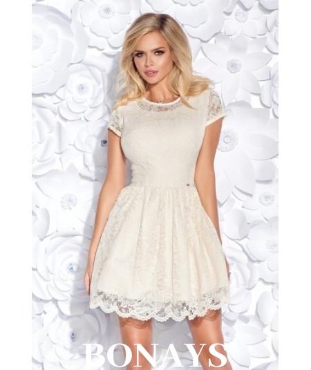 Sukienka pokryta koronką MILENA - różowa