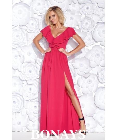 Różowa sukienka Maxi na wesele - bicotone