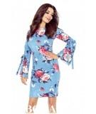 Sukienka z wiązanymi rękawami OLGA - niebieska - rozmazane róże