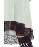 trapezowa sukienka szara z koronką- reina
