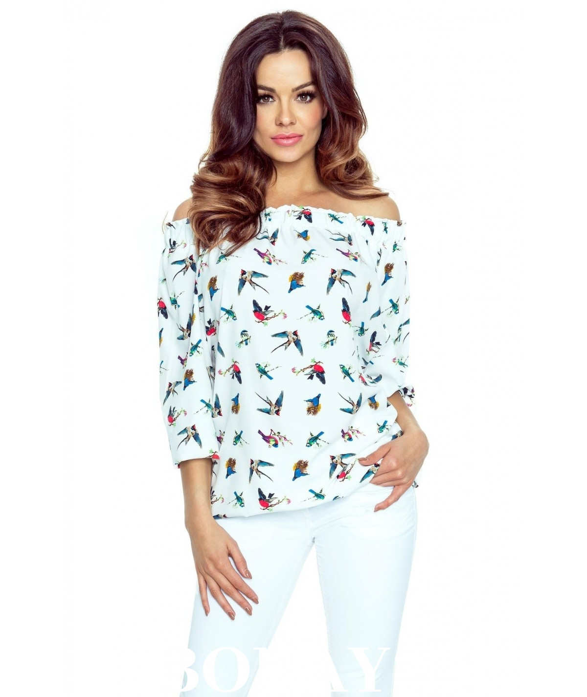 Elegancka bluzka z prontem w ptaki crossy
