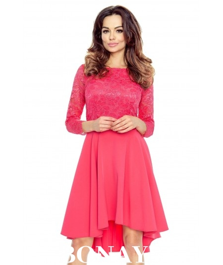 malinowa koronkowa sukienka bergamo