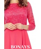 Sukienka z koronkowym rękawem CATERINA - koral