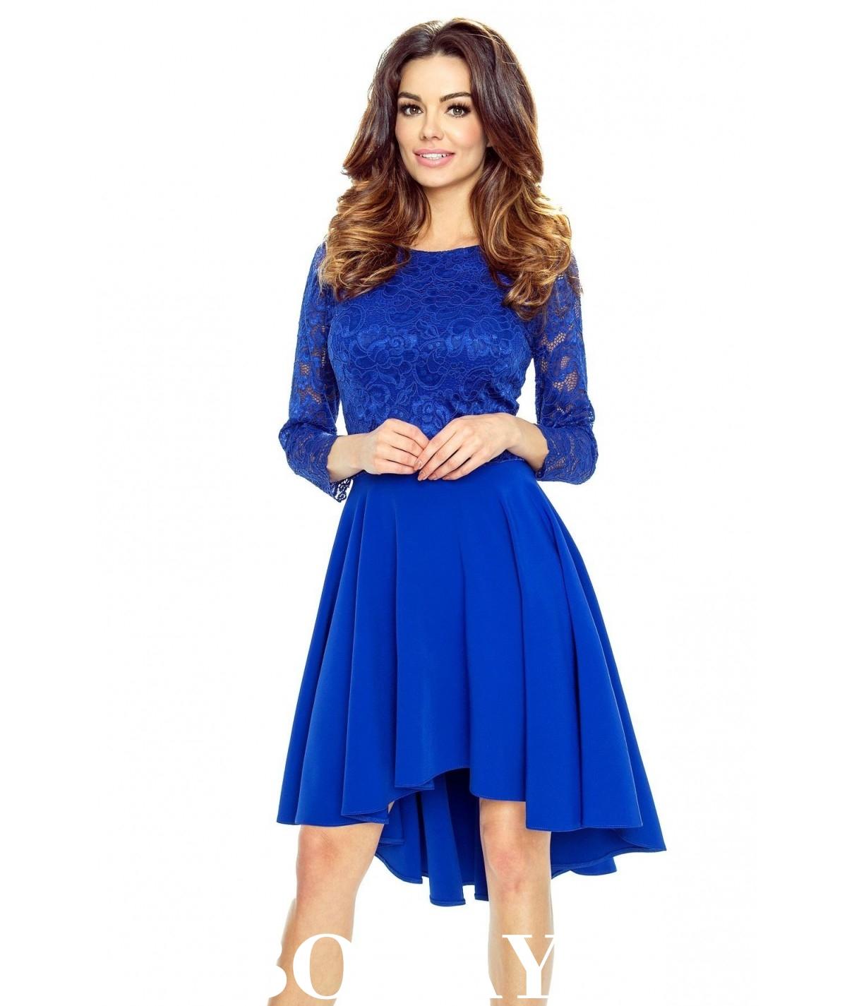 Sukienka z koronkowym rękawem CATERINA - chabrowa