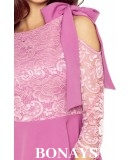Asymetryczna sukienka z koronką NEVA - brudny róż