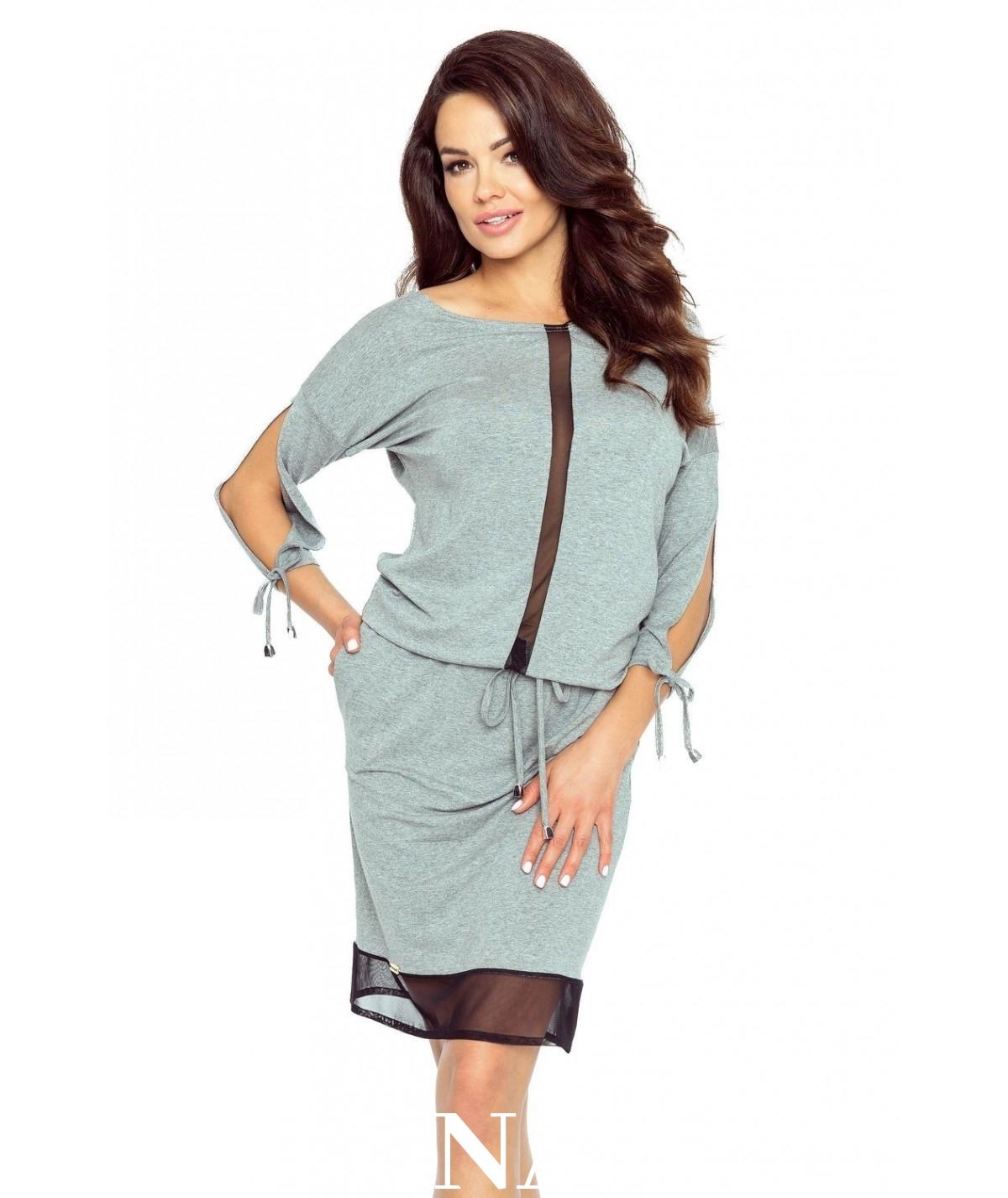 doapsowana sukienka z tiulem - varia - szara