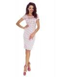 Ołówkowa sukienka w kropki -biznesowa - roż