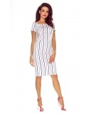 Wygodna sukienka PAULA - ołówkowa biała w granatowe kropki