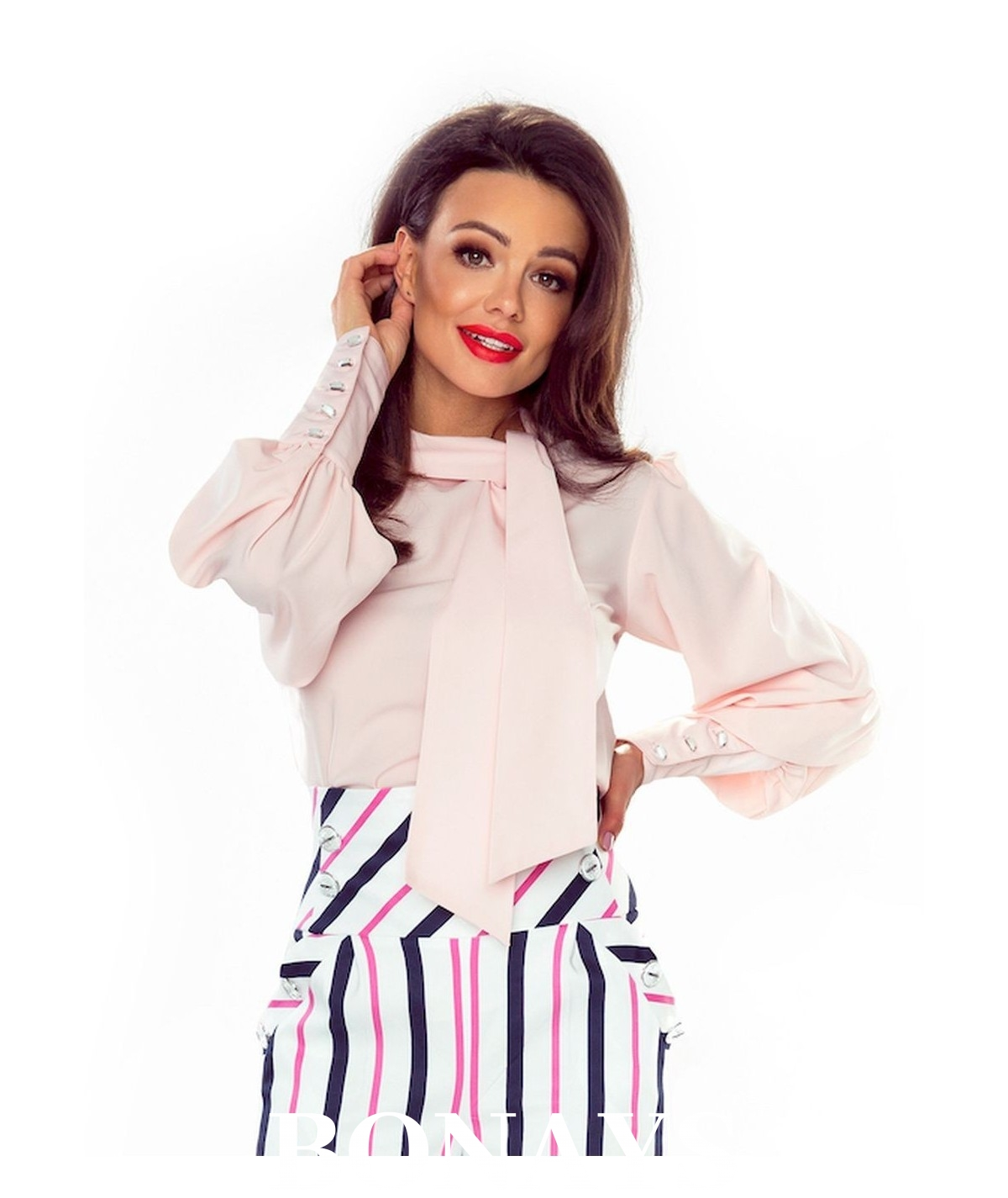 Koszula PATI z kokardą - różowa
