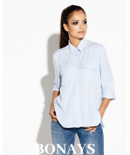 Błękitna elegancka koszula damska z kieszonką TALIA