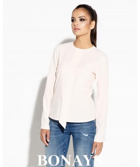 Elegancka bluzka damska z długim rękawem TITIE - brzoskwiniowa