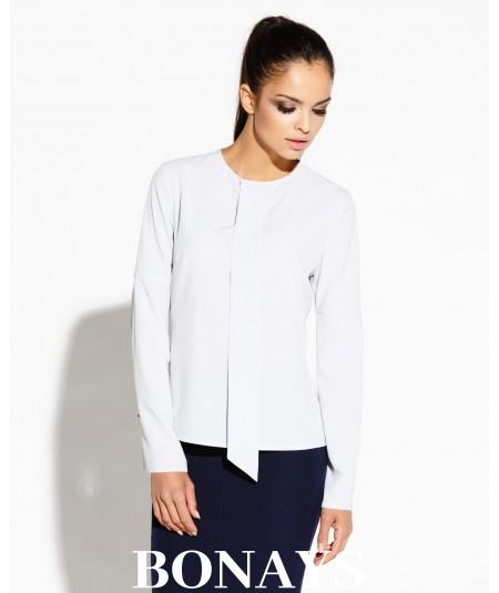 Elegancka bluzka damska z długim rękawem TITIE - lekko szara