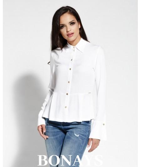 Koszula damska z kołnierzykiem Lora - biała