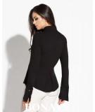Koszula damska z kołnierzykiem Lora - czarna