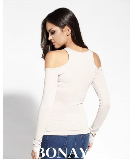 bezowa bluzka z peknięciem na ramieniach KANIA