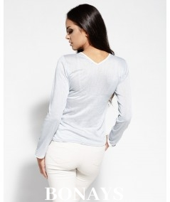 szara dzienna bluzka z zakladkami Dursi