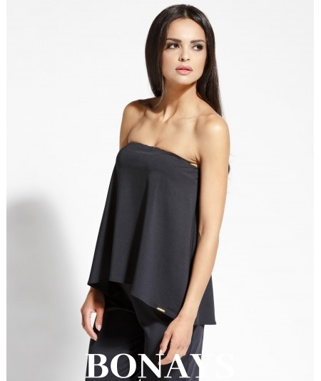 Czarna prosta bluzka damska bez ramiączek typu hiszpanka SINS