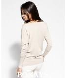 Beżowa prosta basicowa bluzka z kieszonkami PEMO