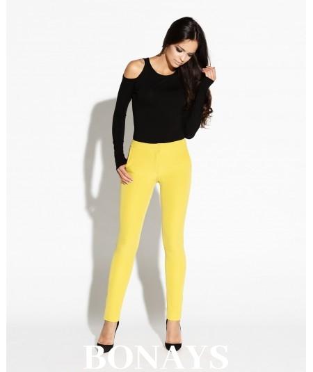 Dopasowane spodnie damskie Tiny - długie żółte