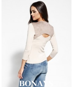 beżowa bluzka z peknięciem na plecach dursi