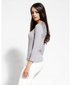 szara bluzka z peknięciem na plecach dursi