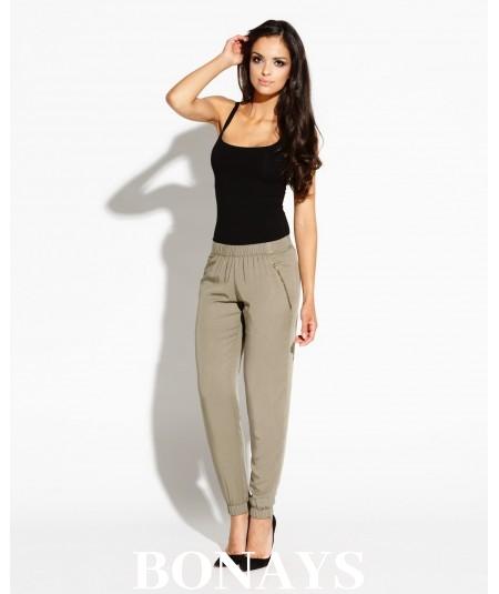 Długie spodnie z kieszeniami Conny - oliwkowe