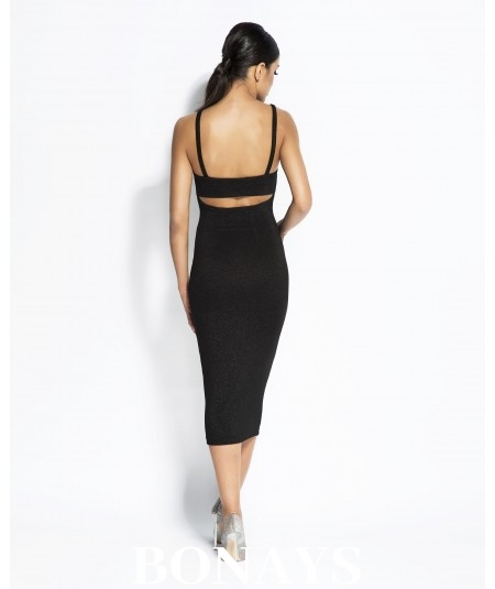 czarna dopasowana sukienka midi dursi