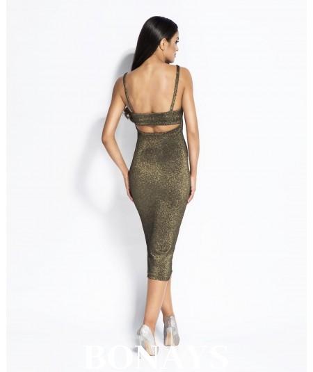 złota sukienka midi dopasowana dursi