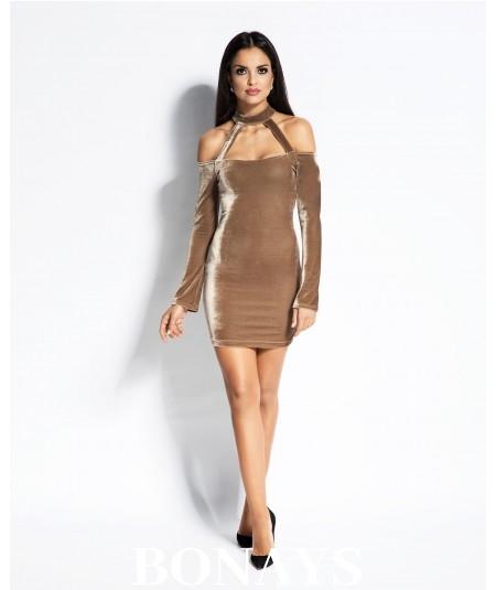 Dopasowana sukienka Callie z ciekawym dekoltem - Beżowa