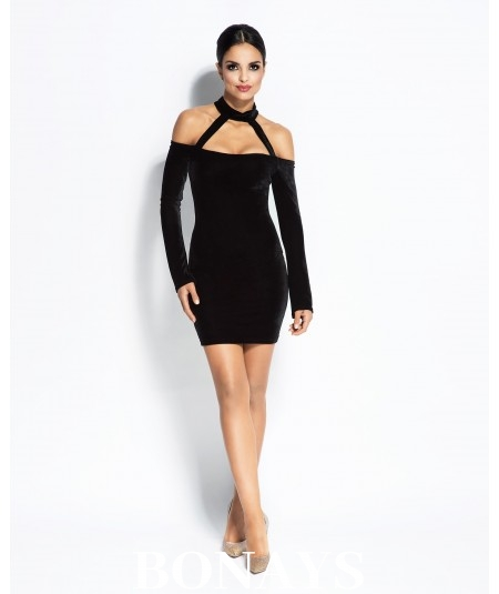 Dopasowana sukienka Callie z ciekawym dekoltem - Czarna