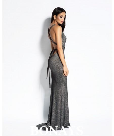 srebrna sukienka maxi z odkrytymi plecami Dursi Cindy