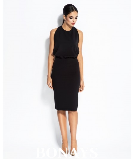 czarna sukienka z dekoltem na plecach Bayon Dursi