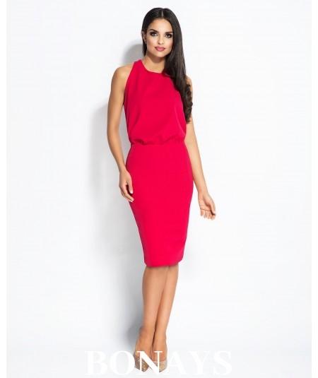 czerwona  sukienka z dekoltem na plecach Bayon Dursi