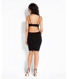 Czarna dopasowana sukienka z dekoltem na plecach - Dursi