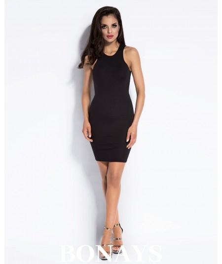 Czarna krótka dopasowana sukienka SISI