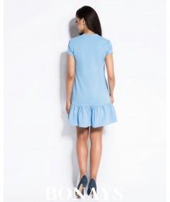 Sportowa sukienka z falbanką BONY - błekitna