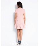 Sportowa sukienka z falbanką BONY - pudrowy róż
