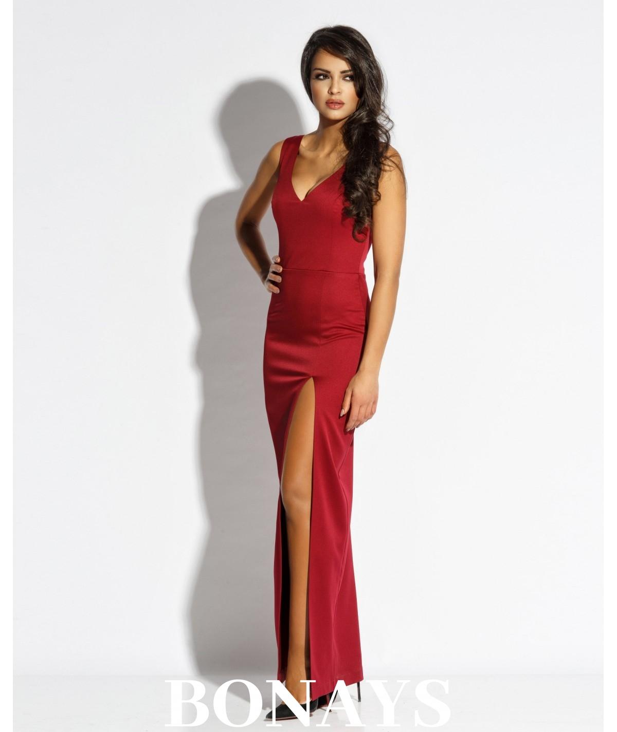50ba0ccd029116 Długa dopasowana suknia z dekoltem Bella - bordowa