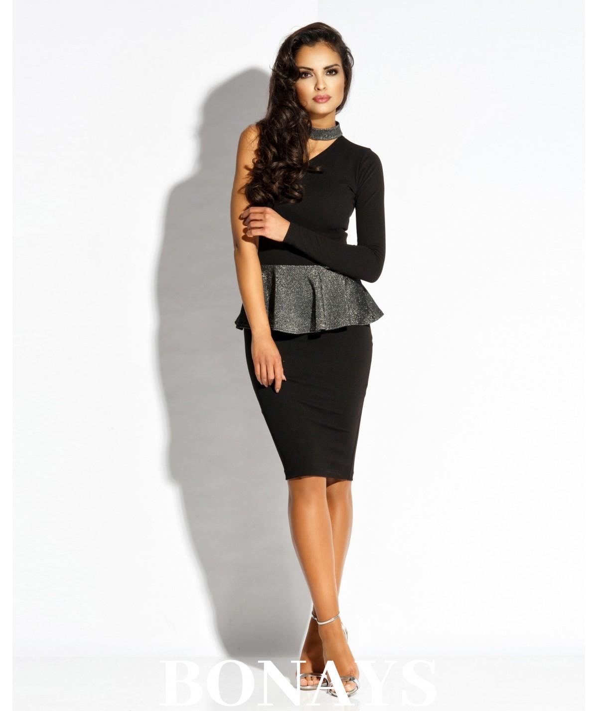czarna sukienka ze srebrną baskinką Dursi