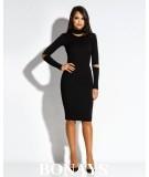 Dopasowana sukienka Rico z długim rękawem - czarna