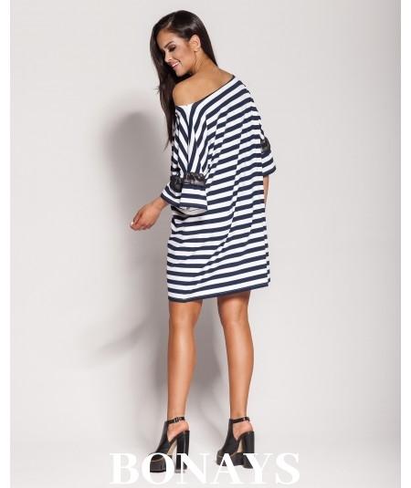 prosta sukienka w marynarskie paski Dursi model Peti
