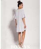 Oversizowa sukienka z falbankami LILA - szara